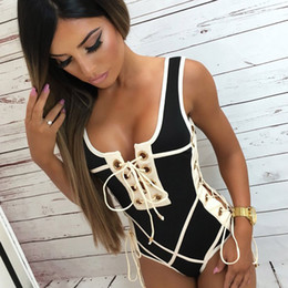 54bdcdaf33 2019 new fashion Sexy White Solid One-piece Swimsuit Swimming Suit For Women  Chest Bandage Double Shoulder Strap Swimwear Bathing Beach