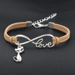 StyliSh men bracelet online shopping - Beige Color Infinity Love Cute Cat Pendant Shape Stylish Charm Wrap Leather Cuff Bracelets For Engagement Symbol Wristband Men Femme Jewelry