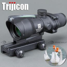 Foco de caza ACOG 4X32 Óptica de fibra real Punto rojo Iluminado Vidrio de Chevron Grabado Grabado Táctico Vista óptica en venta
