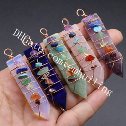 $enCountryForm.capitalKeyWord NZ - 10Pcs 7 Chakra Gemstone Chips Wire Wraped Natural Lapis Aventurine Agate Amethyst Pink Crystal Rose Quartz Sword Shaped Point Pendant Charm