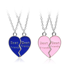 Link two online shopping - Two Pieces Of One Choice One Heart shaped quot Best Friends quot Pendant Necklace Red Blue Heart Friend Classmate Necklace Best Gift For Friends