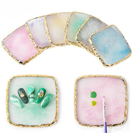 $enCountryForm.capitalKeyWord Australia - XY Fancy Natural Resin Stone Nail Art Color Palette Acrylic Gel Polish Holder Drawing Color Paint Dish Glue Pallet Display
