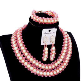 $enCountryForm.capitalKeyWord Australia - Bridal Sets Jewellery Peach White Women Imitation Jewelry Set Pearls 2 Layers Bracelet Earrings Necklace Set Free Shipping 2018