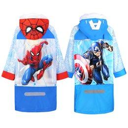 Опт Детский плащ Человек-паук большой мальчик Капитан Америка школьная сумка студенты водонепроницаемый плащ ребенка дождевик