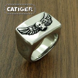 $enCountryForm.capitalKeyWord NZ - Free Shipping! Size 8-14 Punk 316L Stainless Steel Feather Skeleton Rings Cool Silver Punk Gothic High Polishing Silver Wings Skull Ring
