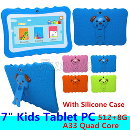 Wholesale Kids Tablet PC 7 Inch Screen Android 4.4 Allwinner A33 Quad Core 512MB RAM 8GB ROM Dual Camera WIFI Children Tablet PC