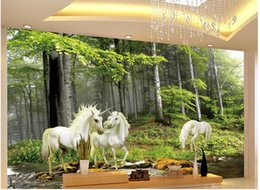 Photo Prints Sizes NZ - Custom any size photo sky ceiling wallpaper Forest unicorn TV background wall