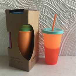 $enCountryForm.capitalKeyWord Australia - Color Changing Cup Magic Plastic Drinking Tumblers with lid and straw Candy colors Coffee mugs Reusable cold drinks cup magic 24oz