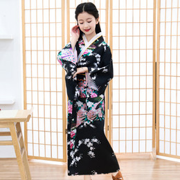 Discount japanese kimono cosplay costume - Japanese Style Vintage Traditional Kimono Halloween Girls Cosplay Costume Elegant Sakura Suit Print Peacock Children Rob