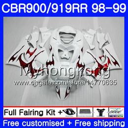 Cbr 919 Fairings Red Australia - Bodys For HONDA CBR 919RR CBR 900RR CBR919RR 1998 1999 278HM.51 CBR900RR CBR 919 RR CBR900 RR CBR919 RR 98 99 Red flames white Fairing kit