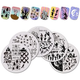 Wholesale BeautyBigBang set Round Nail Stamping Plates Stencil for Nail Halloween Wizard Theme Plate for Art Template BBB