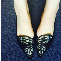 black flat loafers Canada - 2020 BIBI Butterfly Wing flats Black Blue Embroidered Toe Ballet Flats Suede Leather Pointed Toe Loafers Chaussure Femmes9742#