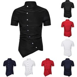 $enCountryForm.capitalKeyWord Canada - Laamei 2019 New Brand Short Sleeve Male Shirts Summer Personality Oblique Button Irregular Shirt Men Hip Hop Casual Clothes