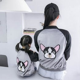 mom son clothes NZ - 2018 Family Matching Clothes Mother And Daughter Coat Embroidery Dog Mom And Son Raglan Kids Outfits Family Look Girls Jacket Y190523
