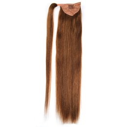 european straight human hair extensions UK - Ponytail Human Hair Remy Straight European Ponytail Hairstyles 100g 100% Natural Hair Clip in Extensions
