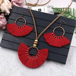$enCountryForm.capitalKeyWord Australia - Bohemian Big Long Tassel Pendant Necklace Fringe Earrings Red Blue Jewelry Set For Women Leather Necklace Vintage Jewellery Sets