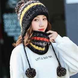 a913bad0ddb22e New 6 Colors Colorful Women Winter Knitted Beanie Hat And Scarf Set Girls  Warm Balaclava Cap Outdoor Skiing Sports Scarf Sets