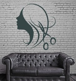 $enCountryForm.capitalKeyWord NZ - Beautiful Sexy Girl Hair Wall Stickers Decor for Beauty Salon Barbershop Wall Sticker Waterproof Vinyl Wall Decal Mural
