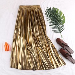 $enCountryForm.capitalKeyWord Australia - Fall Winter Fashion Women Female Gold Silver Black Pleated Elastic High Waist Skirt , Spring Autumn Woman Korean Glitter Skirts J190625