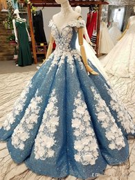 $enCountryForm.capitalKeyWord Australia - Fascinating Fabulous Ball Gown Prom Quinceanera Dresses Dusty Blue Sparkly Sequins Handmade Flowers Off the Shoulder Bridal Pageant Gowns