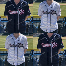 Navy blue meNs baseball jersey online shopping - Mens New Hampshire Fisher Cats White Navy Blue Custom Double Stitched Shirts Baseball Jerseys High quality
