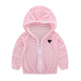 american girl children s clothes NZ - Children\'s Clothing Spring Summer For Boys Girls Striped Hooded Sun Protection Clothing Kids Baby Coat Zipper Tops D3