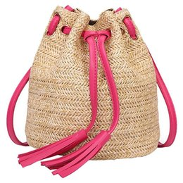$enCountryForm.capitalKeyWord UK - Messenger Bag Ladies Fabric Summer Beach Bags With Tassels Weaving Crossbody Bag Women Weaving Money Bank Knitted Beach Handba