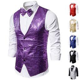 $enCountryForm.capitalKeyWord Australia - Purple Sequins Glitter Waistcoat Men Slim Fit Nightclub DJ Party Paillette Vest with Bowtie Male Stage Prom Singers Costume 2XL