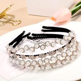 Crystal Heads Australia - 1PC Elegant Fashion Wedding Birthday Crystal Pearl Hair Bands Headband Hair Accessories Ornaments Head Wear Hoop for Women Girls
