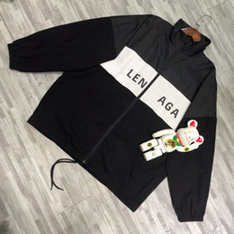Wholesale long coat styles men for sale – custom 19SS BLCG LOGO Printing Coat Stitching Windbreaker Man Women Couple Jackets Fashion OS style TOP VERSION HFLSJK318