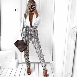 New skiN flats online shopping - Women New Side Striped Snake Skin Pattern Pants Elastic Waist Pockets Ladies Casual Streetwear Fashion Trousers Mujer