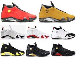 Fabric candy online shopping - New s Candy Cane Black Toe Fusion Varsity Red Suede Men Basketball Shoes Last Shot Thunder Black Yellow DMP Sneakers With Box