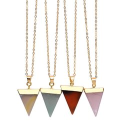 crystal triangle necklace UK - Fashion Natural Stone Crystal Quartz Healing Point Chakra Gemstone Gold Plated Triangle Pendant Necklaces original stone-style Jewelry