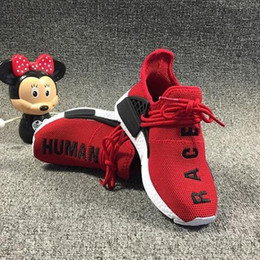 cf3ecb87a Kids Shoes Pharrell Williams Human Race Runner Yellow Red Blue Core Black  Shoes Youth Boys Girls Children Infant Human Race Sneakers