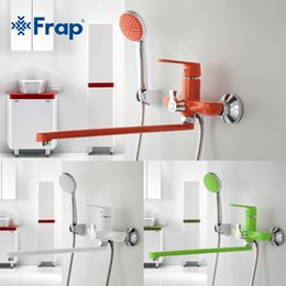 green led pipe Canada - wholesale 1 set 350mm Outlet pipe Bath shower faucet Brass body surface Spray painting Green shower head F2231 F2232 F2233