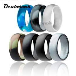 rubber 8mm NZ - 6-12 Size Hypoallergenic Crossfit Flexible Rubber Rings 8mm Food Grade Fda Silicone Finger Ring For Men Women Jewelry 7pcs set