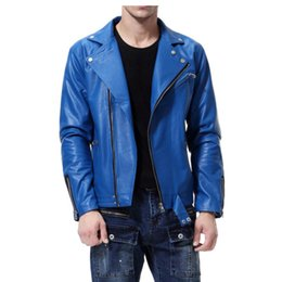 $enCountryForm.capitalKeyWord NZ - England mens leather jacket slim motorcycle coat Diagonal zipper jackets Long sleeve personalized street fashion black blue