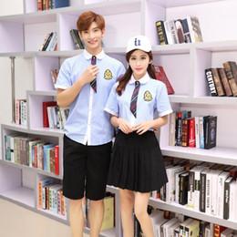 Wholesale korean black cosplay online – oversize Summer Japanese School Uniform Girls Korean Navy Uniforms Boys Student Striped Shirt Black Pants Plus Size Cosplay Clothing