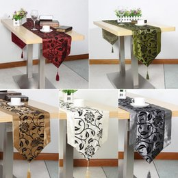 Damask Party Decorations Australia - Table Cloth European Flower tablecloth Party Wedding Decoration Raised Flower Blossom Flocked Damask Table Runner Cloth Cover D19010902