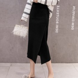 Open fOrk skirts online shopping - Qiu dong new fund tall waist slender body shows thin pure color joker temperament in long open fork bag buttock knitting skirt f