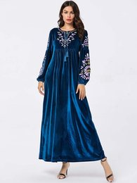 long sleeve maxi dresses Australia - Tie O-Neck Tassel Blue Women Elegant Dress Casual A-Line Long Sleeve Floral Embroidery Ropa Mujer 2019 Winter Maxi Velvet Dress Plus Size