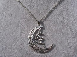vintage crescent moon pendant NZ - Filigree Crescent Moon Butterfly Angel Star Knot Pentagram Fairy Face Necklace Pendants Vintage Silver Charm Choker Women Jewelry
