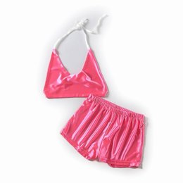 Short Lingerie Suits Australia - Summer New Women's Suit Fashion Tube Top Sexy Bikini Swimsuit Casual Swimsuit Smooth Silk Lingerie Sets Vest and Shorts