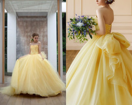 $enCountryForm.capitalKeyWord Australia - 2019 Fashion Yellow Ball Gown Cheap Quinceanera Prom Dresses Big Bows Applique Strapless Lace Tulle Cheap Sweet 15 Dress