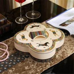 CeramiC lids online shopping - Porcelain candy box nuts box with lid ivory porcelain god horses design embossed outline in gold antique quality decoration
