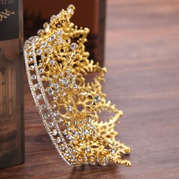 Big Bohemian Hair Australia - Vintage Round Big Crown Queen Tiara Hair Jewelry Gold Silver Crysta Crown For Wedding Bride Hair Accessories HG192