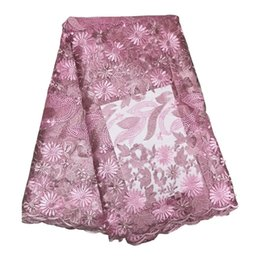 weave african 2019 - French Tulle Fabric Lace Material Dresses Nigeria Lace Fabric Embroidery Lilac Magenta African Lace Fabric For Women 12