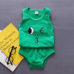 $enCountryForm.capitalKeyWord Australia - Kids Summer Cotton Sleeveless Vest Suits 1-4T Baby Boys& Girls Cartoon Emoticon Clothing Children T-shirts+ Short Pants=2PCS Set