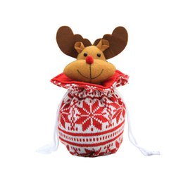 doll knitting NZ - Christmas Apple Bag Cute Elk Doll Knitted Candy Cookie Bag Pendant Kids Xmas Gift Party Decoration Elk