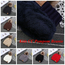 Kids Winter Beanies Australia - Kids CC Trendy Hats Kids Knitted Fur Poms Beanie Winter Luxury Cable Slouchy Skull Caps Fashion Beanie Outdoor Hats 60pcs